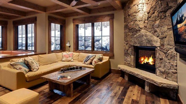 decorar un salón con chimenea en esquina